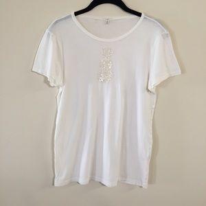 2/$20 J.Crew white shirt snowman sequins